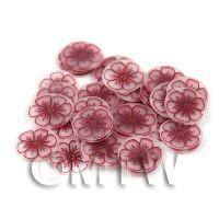 50 Transparent Wine Red Flower Cane Slices (11NS86)