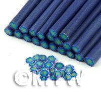 Dolls House Miniature - Handmade Blue And Yellow Flower Cane - Nail Art (11NC106)