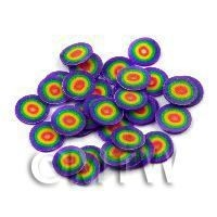 50 Multicolour Bullseye Cane Slices - Nail Art (11NS53)