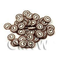 1/12th scale 50 Triple Chocolate Swirl Slices - Nail Art (11NS41)
