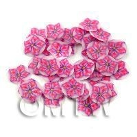 50 Red And Purple Star Glitter Flower Cane Slices (11NS75)