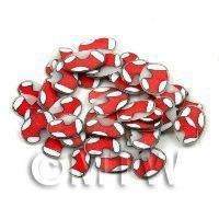50 Red Stocking Cane Slices - Nail Art (11NS04)