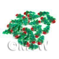1/12th scale 50 Christmas Tree Cane Slices - Nail Art (11NS06)