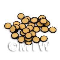 50 Light Orange Polka Dot Cane Slices Black Outer (11NS30)
