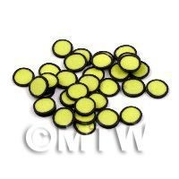 50 Yellow Polka Dot Cane Slices Black Outer (11NS31)