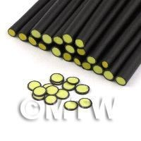 1/12th scale 1 Yellow Polka Dot Cane Black Outer - Nail Art (11NC36)