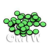 50 Green Polka Dot Cane Slices Black Outer (11NS32)