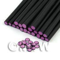 Handmade Light Purple Polka Dot Cane Black Outer - Nail Art (11NC34)