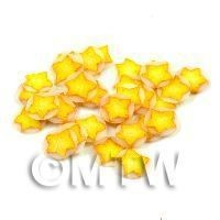 1/12th scale 50 Yellow Christmas Star Cane Slices - Nail Art (11NS08)