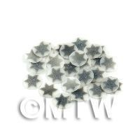 1/12th scale 50 Silver Christmas Star Cane Slices - Nail Art (11NS10)