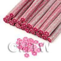Handmade Dark Pink Glitter Flower Cane - Nail Art (11NC98)