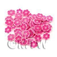 50 Dark Pink Glitter Flower Cane Slices (11NS79)