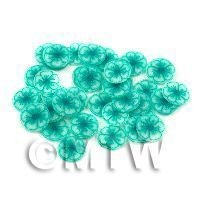 50 Transparent Sea Green Glitter Flower Cane Slices (11NS80)