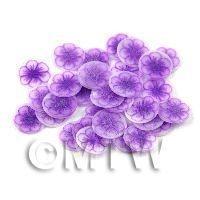 50 Transparent Purple Flower Cane Slices (11NS82)