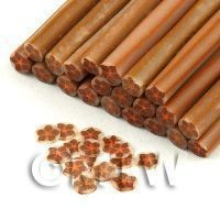 Dolls House Miniature - 1 Brown And Copper Star Flower Cane - Nail Art (11NC102)