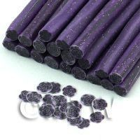 1/12th scale Handmade Black And Purple Rose Cane With Glitter - Nail Art (11NC60)
