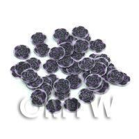 50 Black And Purple Rose Cane Slices - Nail Art (11NS46)