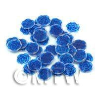 50 Dark Blue Glitter Rose Cane Slices - Nail Art (11NS47)