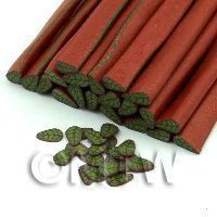 1/12th scale Handmade Green Leaf With Copper Cane - Nail Art (11NC77)