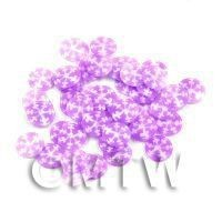 1/12th scale 50 Mauve Snowflake Cane Slices - Nail Art (11NS02)