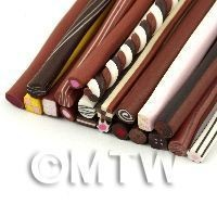 1/12th scale 20 Mixed Chocolate And Sweet Canes - Nail Art (11NCST1)