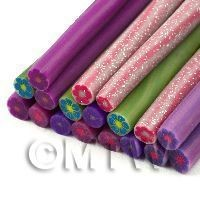 18 Mixed Solid Colour Flower Canes - Nail Art (11NCST6)