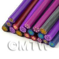 1/12th scale 18 Mixed Solid Colour Flower Canes  - Nail Art (11NCST7)