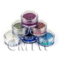 High Quality Nail Art Glitter - 6 x 2g Mixed Pot Set 1