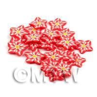 50 Red Flower Cane Slices - Nail Art (DNS66)