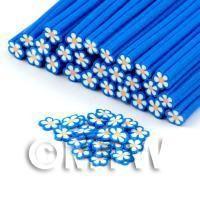 Handmade Blue and White Flower Cane - Nail Art (DNC68)