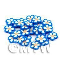 50 Blue and Whjite Flower Cane Slices - Nail Art (DNS68)