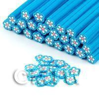 Handmade Blue and White Flower Cane - Nail Art (DNC72)