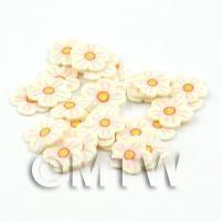 50 Light Yellow Flower Cane Slices - Nail Art (DNS75)