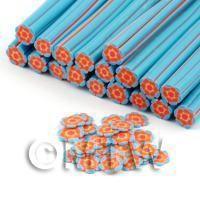 Handmade Blue and Orange Flower Cane - Nail Art (DNC76)