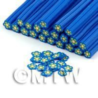 Handmade Blue and Yellow Flower Cane - Nail Art (DNC79)