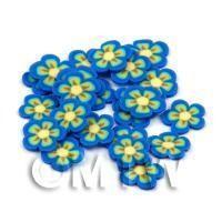 50 Blue Flower Cane Slices - Nail Art (DNS80)