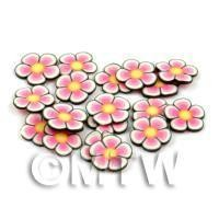 1/12th scale - 50 Pink and Yellow Flower Cane Slices - Nail Art (DNS86)