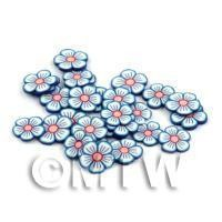 50 Blue and White Flower Cane Slices - Nail Art (DNS90)