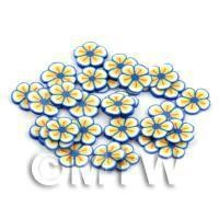 50 Blue and Yellow  Flower Cane Slices - Nail Art (DNS91)
