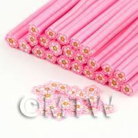 Handmade Pink  and White Flower Cane - Nail Art (DNC97)