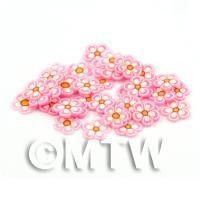 1/12th scale - 50 Pink Flower Cane Slices - Nail Art (DNS97)