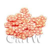 50 Orange Flower Cane Slices - Nail Art (DNS99)