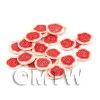 1/12th scale 50 Red Rose Flower Cane Slices - Nail Art (DNS31)