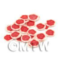 50 Red Rose Flower Cane Slices - Nail Art (DNS31)