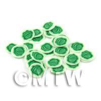 50 Green Rose Flower Cane Slices - Nail Art (DNS34)