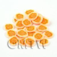 50 Orange Rose Flower Cane Slices - Nail Art (DNS36)