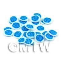 50 Blue Rose Flower Cane Slices - Nail Art (DNS37)