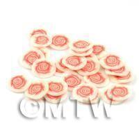 50 Peach Rose Flower Cane Slices - Nail Art (DNS38)