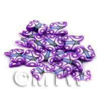 50 Purple Flying Butterfly Cane Slices - Nail Art (DNS12)