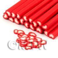 Handmade Red and White Heart Cane - Nail Art (DNC43)